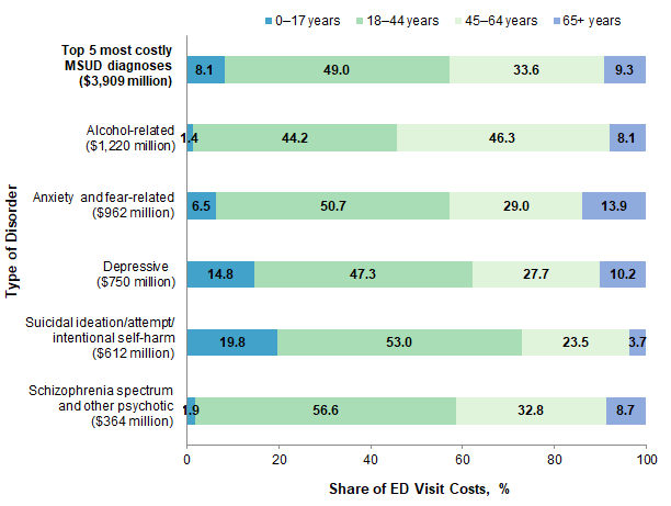 Figure 2 is a horizontal bar chart that illustrates the distribution of emergency department visit costs by age group for the five most expensive mental and substance use disorder diagnoses in 2017. Data are provided in Supplemental Table 2.