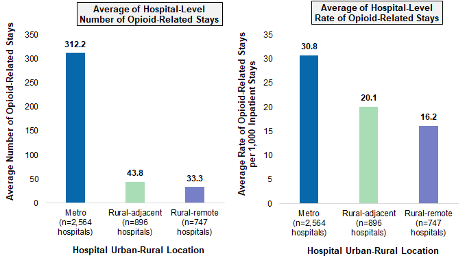 Figure 1 is two bar charts that illustrates the average number and average hospital rate of opioid-related stays by hospital urban-rural location in 2016.