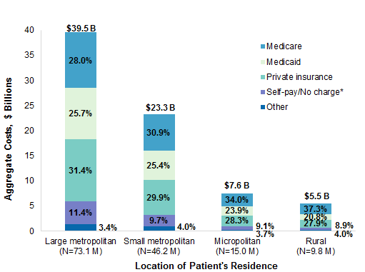 Figure 4 is a bar chart illustrating the distribution of aggregate costs for ED visits by primary expected payer and the location of the patient's residence in 2017.